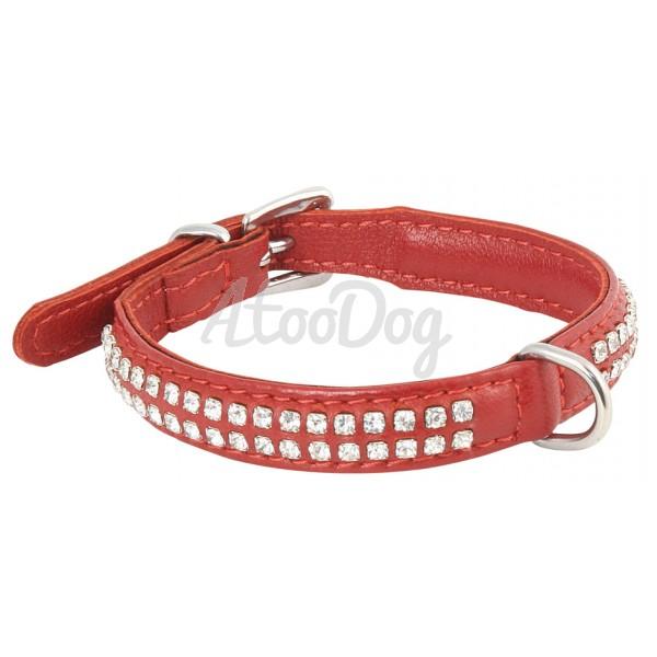 colliers strass pour petit chien en cuir d 39 agneau 2 rang rouge. Black Bedroom Furniture Sets. Home Design Ideas