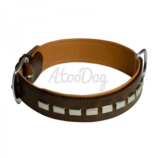 collier pour chien en cuir gras brun beige bologne. Black Bedroom Furniture Sets. Home Design Ideas