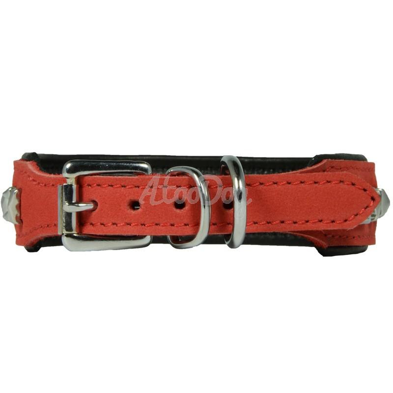 collier pour chien en cuir noir cusco rouge. Black Bedroom Furniture Sets. Home Design Ideas
