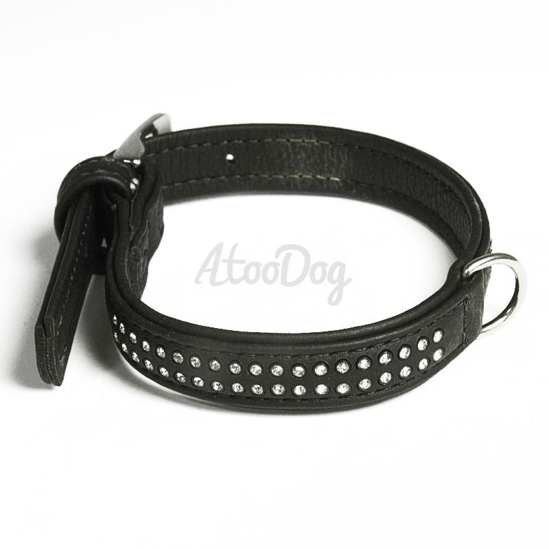 collier strass 2 rangs pour chien en cuir noir karlie. Black Bedroom Furniture Sets. Home Design Ideas