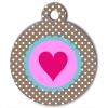 Médaille personnalisée chien Pastel coeur à pois