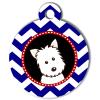Médaille personnalisée chien Doggy zigzag bleu Atoo