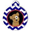 Médaille personnalisée chien Doggy zigzag bleu Itoo