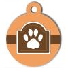 Médaille personnalisée chien Fashion patte encadrée marron