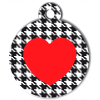 Médaille personnalisée chien Fashion coeur pied de poule