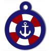 Médaille personnalisée chien Marine ancre bouée bleue