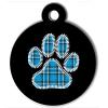 Médaille personnalisée chien Patoune fashion carreaux bleue