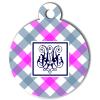 Médaille personnalisée chien Pastel carreaux rose