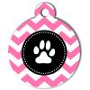 Médaille personnalisée chien Patoune fashion zigzag rose
