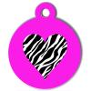 Médaille personnalisée chien Pastel coeur zèbre rose