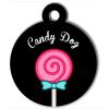 Médaille personnalisée chien collection gourmandise sucette noire candy