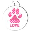 Médaille personnalisée chien Patoune simple pois rose