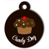 Médaille personnalisée chien collection Gourmandise cupcake marron candy