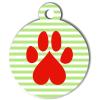 Médaille personnalisée chien Patoune fashion zigzag rayée verte