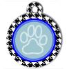 Médaille personnalisée chien Patoune fashion bleue pieds de poule
