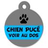 Médaille personnalisée chien pucé grise et bleue