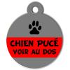 Médaille personnalisée chien pucé grise et rouge