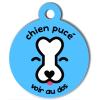 Médaille personnalisée chien pucé bleue ciel
