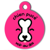 Médaille personnalisée chien pucé rose