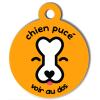 Médaille personnalisée chien pucé orange