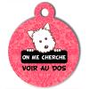 Médaille personnalisée chien On me cherche Atoo baroque rose