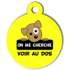 Médaille personnalisée chien On me cherche Itoo jaune