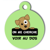 Médaille personnalisée chien On me cherche Itoo verte