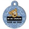 Médaille personnalisée chien On me cherche Itoo baroque bleu