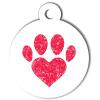 Médaille personnalisée chien Patoune simple coeur rouge