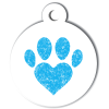 Médaille personnalisée chien Patoune simple coeur bleu