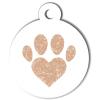 Médaille personnalisée chien Patoune simple coeur beige