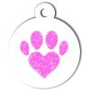Médaille personnalisée chien Patoune simple coeur rose