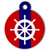 Médaille personnalisée chien Marine barre rouge