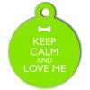 Médaille personnalisée chien Keep Calm verte ronde