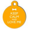 Médaille personnalisée chien Keep Calm orange ronde