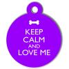 Médaille personnalisée chien Keep Calm violette ronde