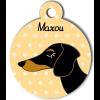 Médaille personnalisée pour chien bicolore poils courts
