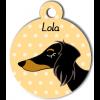 Médaille personnalisée pour chien bicolore poils longs