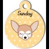 Médaille personnalisée petit chien blanc et crème