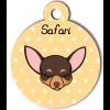 Médaille personnalisée petit chien marron et crème