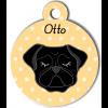 Médaille personnalisée pour chien noir oreilles tombantes