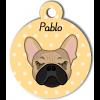 Médaille personnalisée pour chien crème oreilles droites