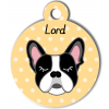 Médaille personnalisée pour chien noir et blanc oreilles droites