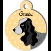 Médaille personnalisée chien gris et noir oreilles longues