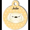 Médaille personnalisée chien crème poils longs
