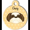 Médaille personnalisée chien crème et marron poils longs