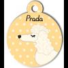 Médaille personnalisée chien blanc frisé oreilles longues