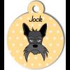 Médaille personnalisée chien gris moustaches longues