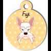 Médaille personnalisée chien blanc moustaches longues