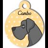 Médaille personnalisée chien gris foncé poils courts